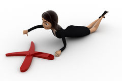 3d woman laying before red cross sign and thumb down concept Royalty Free Stock Photography