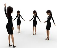 3d woman leader show hand up concept Royalty Free Stock Image