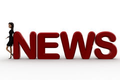 3d woman leaning on news concept Royalty Free Stock Photo