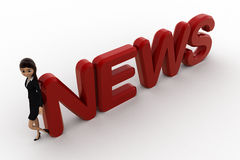 3d woman leaning on news concept Stock Images
