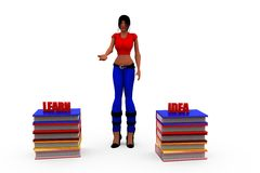 3d woman learn idea concept Stock Photos