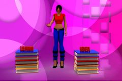 3d woman learn idea illustration Royalty Free Stock Photography