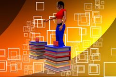 3d woman learn idea illustration Stock Photography