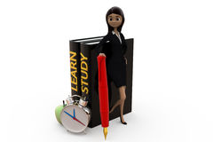3d woman learn and study concept Royalty Free Stock Images