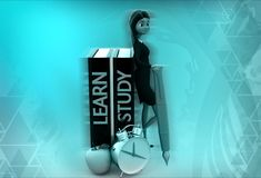 3d woman learn and study illustration Stock Image