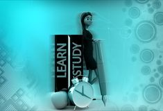 3d woman learn and study illustration Royalty Free Stock Image