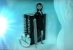 3d woman learn and study illustration Royalty Free Stock Photos