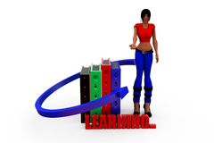 3d woman learnig concept Stock Photography