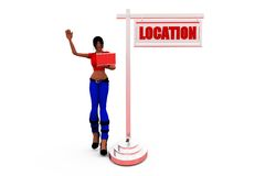 3d woman left location  concept Stock Photo