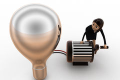 3d woman lighting up bulb using generator concept Royalty Free Stock Image