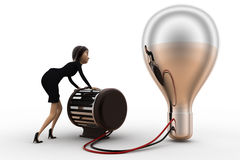 3d woman lighting up bulb using generator concept Stock Photography