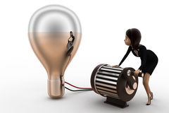 3d woman lighting up bulb using generator concept Stock Images