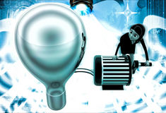 3d woman lighting up bulb using generator illustration Stock Images