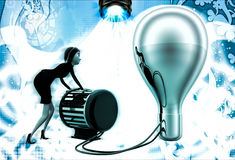 3d woman lighting up bulb using generator illustration Royalty Free Stock Photography