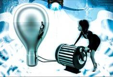 3d woman lighting up bulb using generator illustration Royalty Free Stock Photos