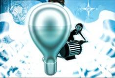 3d woman lighting up bulb using generator illustration Royalty Free Stock Photo