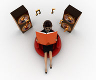 3d woman listing calm music concept Royalty Free Stock Images