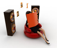 3d woman listing calm music concept Royalty Free Stock Photos