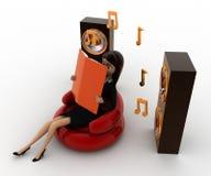 3d woman listing calm music concept Stock Images