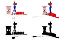 3d woman loading concept Collections With Alpha And Shadow Channel Stock Images