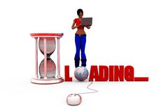 3d woman loading concept Royalty Free Stock Photos