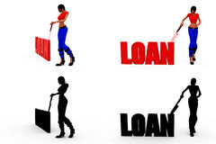 3d woman loan concept Collections With Alpha And Shadow Channel Royalty Free Stock Photos