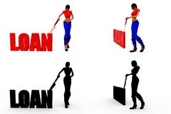 3d woman loan concept Collections With Alpha And Shadow Channel Stock Images