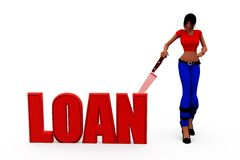 3d woman loan concept Royalty Free Stock Images