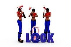 3d woman lock concept Stock Photo