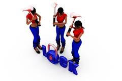 3d woman lock concept Royalty Free Stock Photos