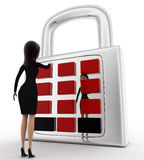 3d woman with lock and password system concept Stock Photos
