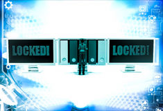 3d woman with locked screen and taking file folder from unlocked screen illustration Royalty Free Stock Photos