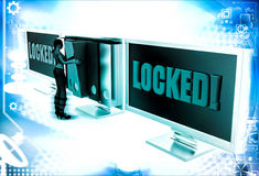 3d woman with locked screen and taking file folder from unlocked screen illustration Stock Photography