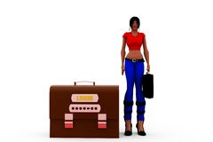 3d woman log in concept Stock Photos