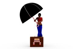 3d woman log out umbrella concept Royalty Free Stock Photography