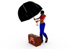 3d woman log out umbrella concept Royalty Free Stock Photos