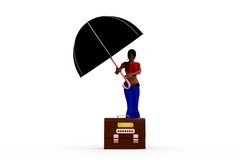 3d woman log on umbrella concept Royalty Free Stock Images