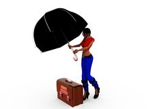 3d woman log on umbrella concept Stock Photo