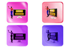 3d woman login icon Stock Images