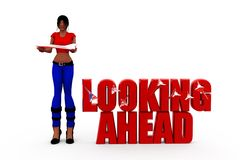 3d woman looking ahead concept Stock Images