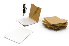 3d woman looking into files concept Royalty Free Stock Photos