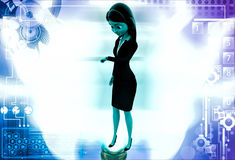 3d woman looking at her watch illustration Royalty Free Stock Images