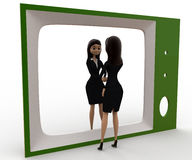 3d woman looking herself on tv concept Stock Images