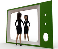 3d woman looking herself on tv concept Stock Photo