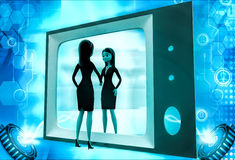 3d woman looking herself on tv illustration Royalty Free Stock Photos