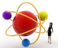 3d woman looking at molecular model concept Stock Photo