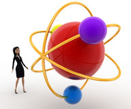 3d woman looking at molecular model concept Stock Images