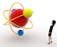 3d woman looking at molecular model concept Royalty Free Stock Images