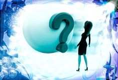 3d woman looking at question mark on globe illustration Royalty Free Stock Images