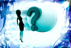 3d woman looking at question mark on globe illustration Royalty Free Stock Photos